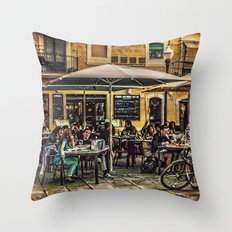 Al fresco dining Barcelona Throw Pillow