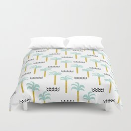 Palm Tree tropical island vacation wave water socal hawaii beach life salt life chilled out vibe Duvet Cover