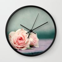 roses Wall Clocks featuring roses by Claudia Drossert
