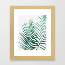 Emerald Palm Fronds Watercolor Framed Art Print