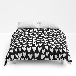 Linocut printmaking hearts pattern minimalist black and white heart gifts Comforters