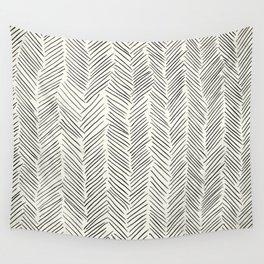 Herringbone Black on Cream Wall Tapestry