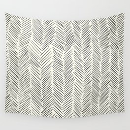Herringbone Black on Cream Wall Tapestry