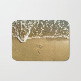 footprint on the beach Bath Mat