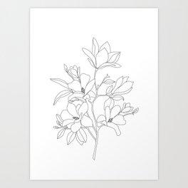 Minimal Line Art Magnolia Flowers Art Print