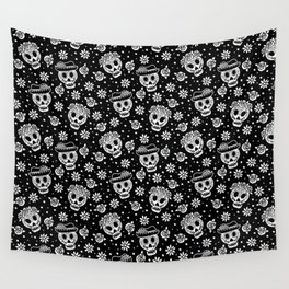 Black and White Day of the Dead Sugar Skulls Wall Tapestry