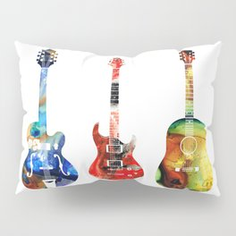 Guitar Threesome - Colorful Guitars By Sharon Cummings Pillow Sham