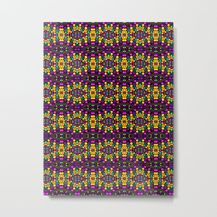Yellow And Purple Mosaic Metal Print