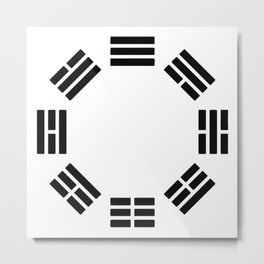 Black Hexagon I ching Feng Philosophy Metal Print