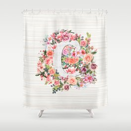 Initial Letter C Watercolor Flower Shower Curtain
