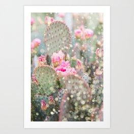 Beavertail Prickly Pear Glitter Cactus Art Print
