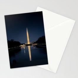 Washington Monument obelisk illuminated at night in Washington D.C. Stationery Cards
