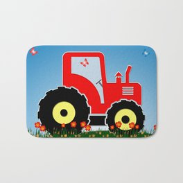 Red tractor in a field Bath Mat