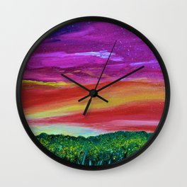 Sunset Memories - Abstract Sky - Landscape Oil Painting Wall Clock