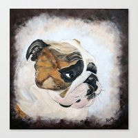 english bulldog Canvas Prints featuring English Bulldog by Kristiekoz