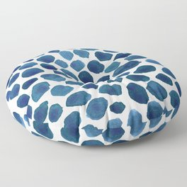 Blue Stones Watercolor Minimalist Painting Floor Pillow