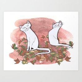 October Cats Art Print