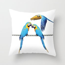macaw Bird sitting on rope & flying Throw Pillow