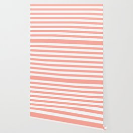 Simply Striped in Salmon Pink and White Wallpaper