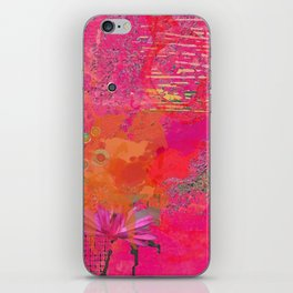 Hot Pink & Orange Abstract Art Collage iPhone Skin