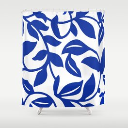 PALM LEAF VINE SWIRL BLUE AND WHITE PATTERN Shower Curtain