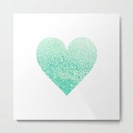 SEAFOAM HEART Metal Print
