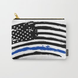 Thin blue line US flag. Flag with Police Blue Line - Distressed american flag. Carry-All Pouch