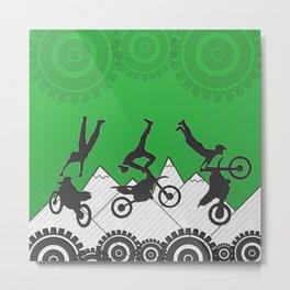 Motocross Mountain Stunt Bike Riders over Green Sports Pattern Metal Print
