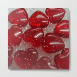 glittering glass hearts red Metal Print