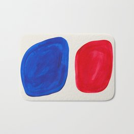 Mid Century Modern Retro Minimalist Colorful Shapes Phthalo Blue Red Rothko Pebbles Bath Mat
