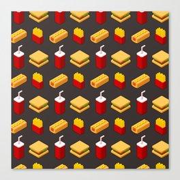 Isometric junk food pattern Canvas Print