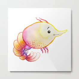 Shrimp Sea Creature Metal Print