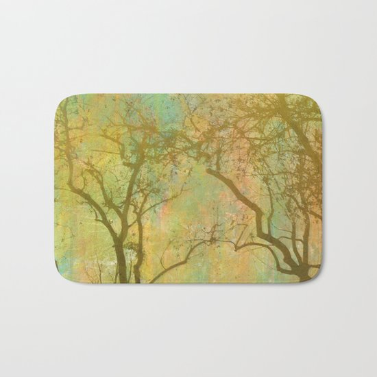 Golden Tree Silhouette, Rainbow Color Background Bath Mat