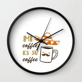 Hand Drawn Illustrations Me Coffee Es Su Coffee Gift Wall Clock