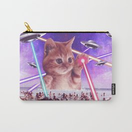 cat invader from space galaxy marsians attacking beach Carry-All Pouch