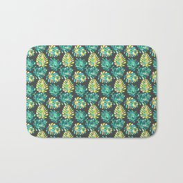 Modern green yellow tropical monster cheese leaves pattern Bath Mat