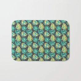 Modern green yellow tropical monster cheese leaves pattern Bath Mat