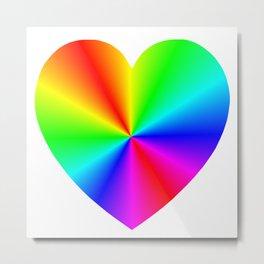 Rainbow Burst Heart Metal Print