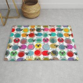 Bright Sheep and Yarn Pattern Rug