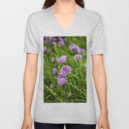chive flowers Unisex V-Neck