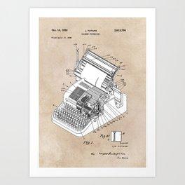patent art Yutang Chinese typewriter 1952 Art Print