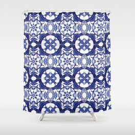 Portuguese Tiles Azulejos Blue and White Pattern Shower Curtain