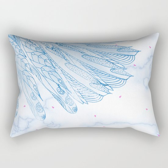 Beautiful Feathers on Blue Marble Design Rectangular Pillow