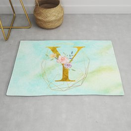 Gold Foil Alphabet Letter Y Initials Monogram Frame with a Gold Geometric Wreath Rug