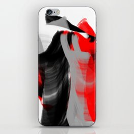 dancing abstract red white black grey digital art iPhone Skin