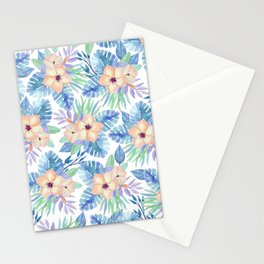 Tropical coral lilac lavender blue watercolor floral Stationery Cards