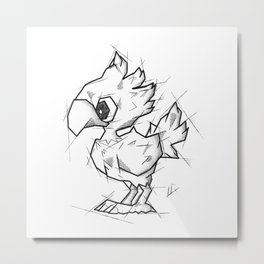 Chocobo Handmade Drawing, Made in pencil and ink, Tattoo Sketch, Final Fantasy Art Metal Print