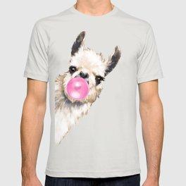 Bubble Gum Sneaky Llama in Blue T-shirt