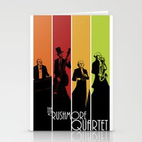 rushmore Stationery Cards featuring The Mt. Rushmore Quartet by Alan Bao