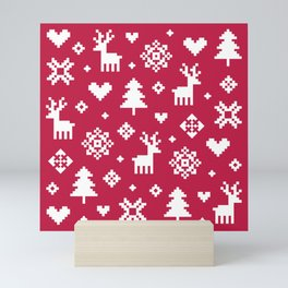 PIXEL PATTERN - WINTER FOREST RED Mini Art Print